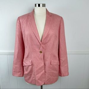 Lands' End Pink Wool Silk Linen Blazer Jacket